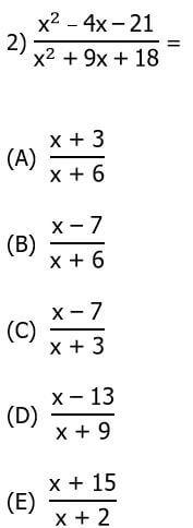 ratio of quadratics