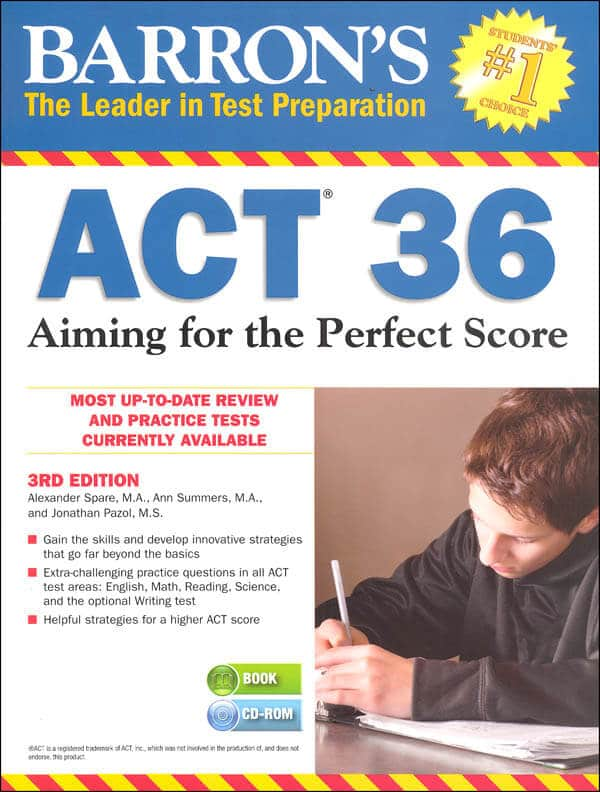 Barron's ACT 36 book review, ACT books