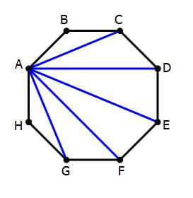 regular octagon with diagonals from a vertex